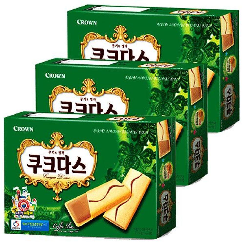 크라운)쿠크다스(커피) 녹색 144g x 10개 부드러운 쿠키의 명작 과자 간식 비스켓 비스킷 심심풀이