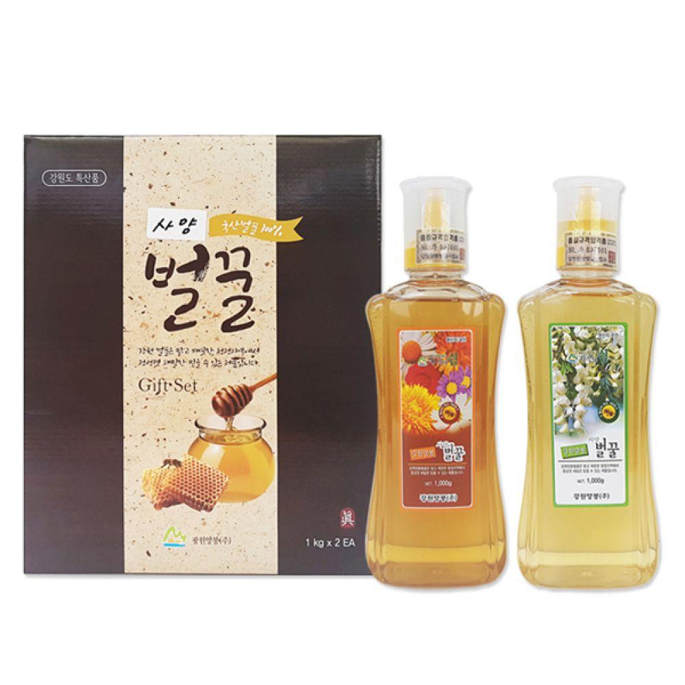한국산 벌꿀(튜브꿀2p)(1kgx2병) 강원양봉 강원산벌꿀 깨끗한 청정지역 건강 식품 부모님 선물 허니