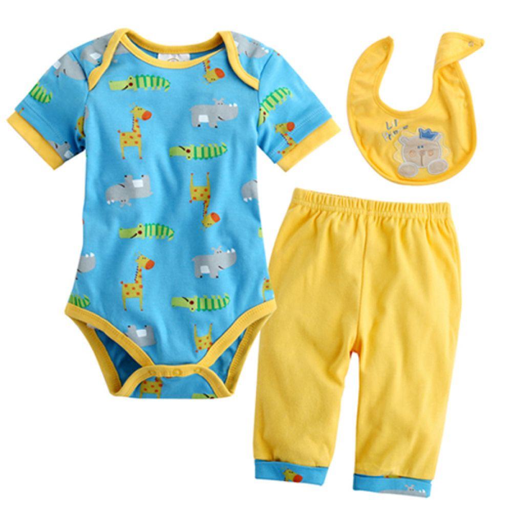 사자와 친구들 바디수트 3종 세트(0-9개월)300069 아기외출복 백일아기옷 아기룸퍼 6개월아기옷 아기룸퍼 돌아기옷 신생아외출복 베이비롬퍼