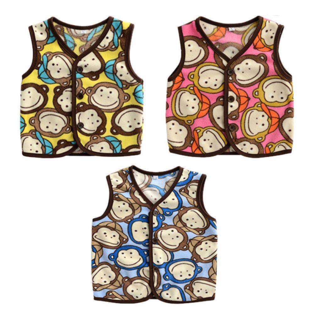 한국생산 원숭이 친구들 수면조끼(5-11호) 202962 아기조끼 수면조끼 유아조끼 아기옷 유아옷 가디건 배앓이예방 수면가디건 누빔수면조끼 엠케이 조이멀티