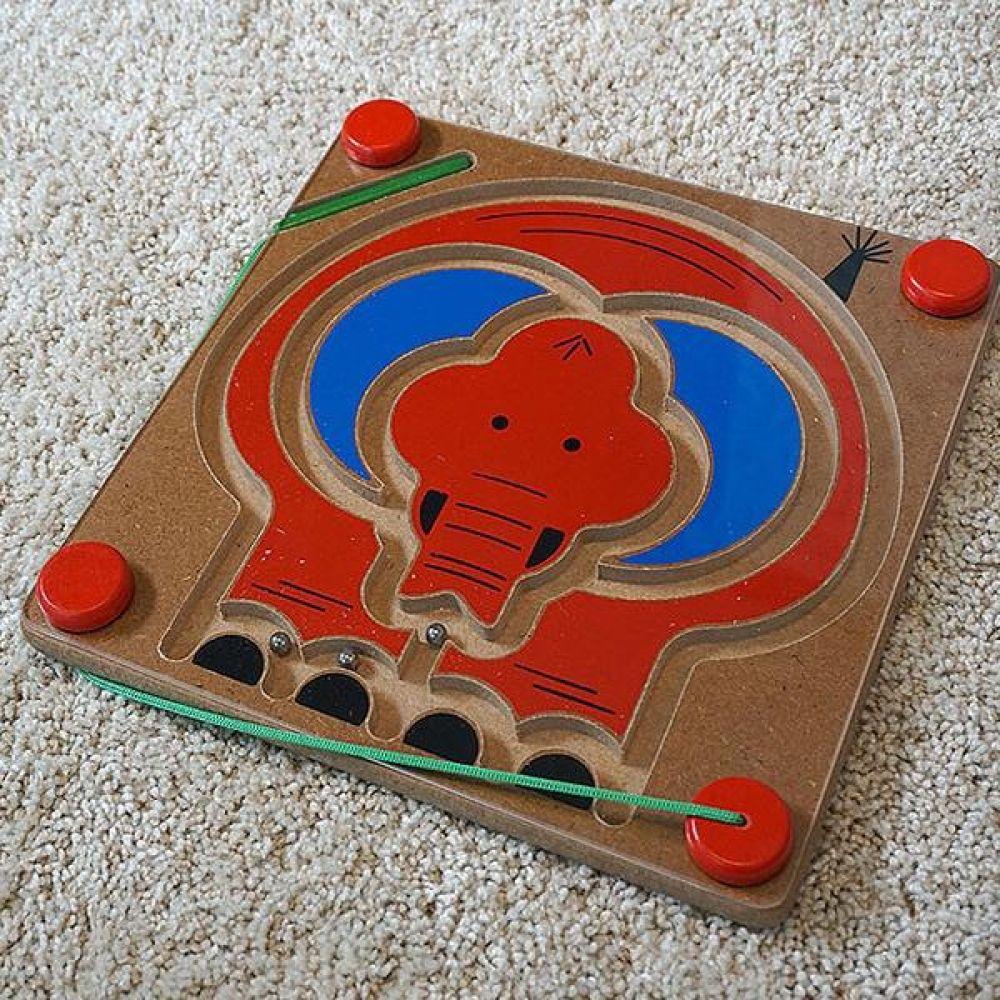 블루리본 코끼리 자석미로놀이 원목교구 유아용품 원목퍼즐 꼭지퍼즐 유아미로놀이 그림퍼즐미로 원목그림퍼즐미로 미로게임 원목교구 미로게임