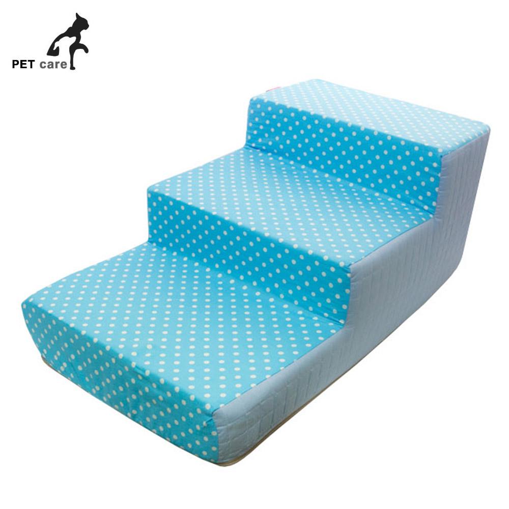 줄리 도트 3단 스텝 블루 애완동물 침대계단 강아지 애견용품 스텝 강아지 애완동물 침대계단