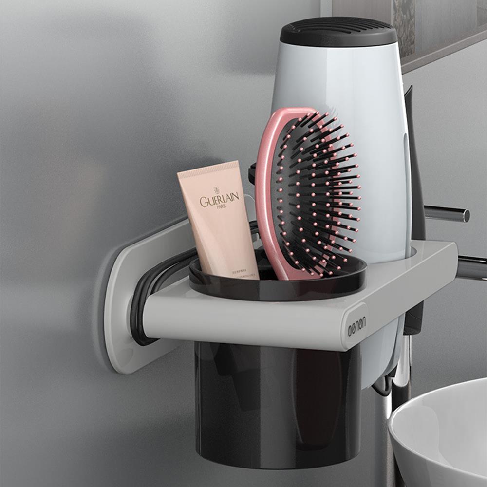 수납형 그레이 드라이기거치대 고데기선반 빗보관함 욕실걸이 빗보관함 욕실정리 다용도걸이 욕실용품