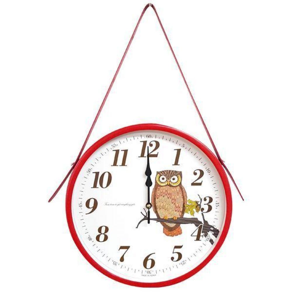 GB4569 메탈 부엉이 교육용 무소음 가죽 벽시계 레드 제조한국 벽시계 교육시계 인테리어시계 무소음시계 부엉이벽시계