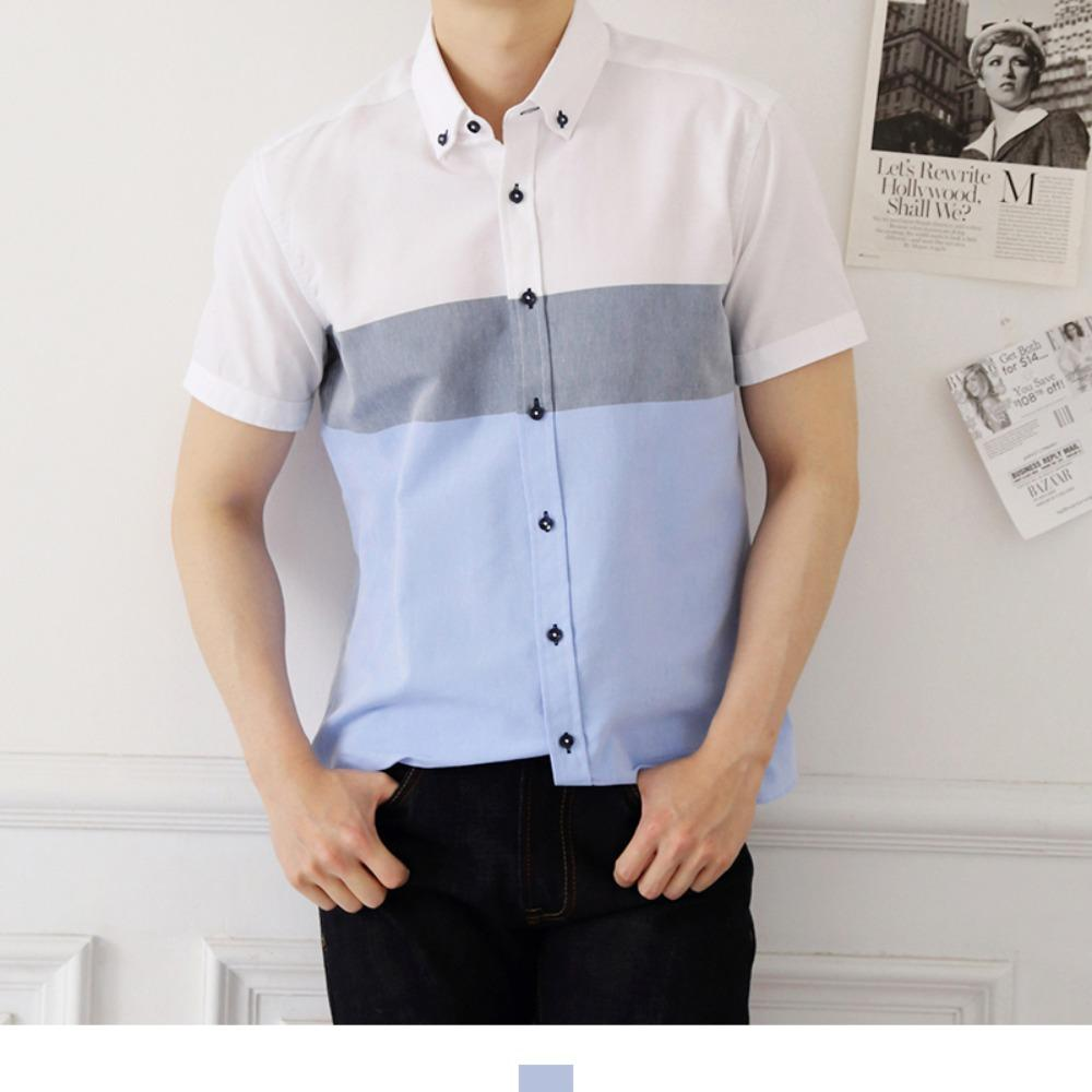 소라 배색 남자 반팔셔츠 반팔남방 반팔셔츠 슬림핏셔츠 빅사이즈셔츠 남자셔츠 남자반팔셔츠 캐주얼셔츠 남자여름셔츠 반팔와이셔츠 남자와이셔츠