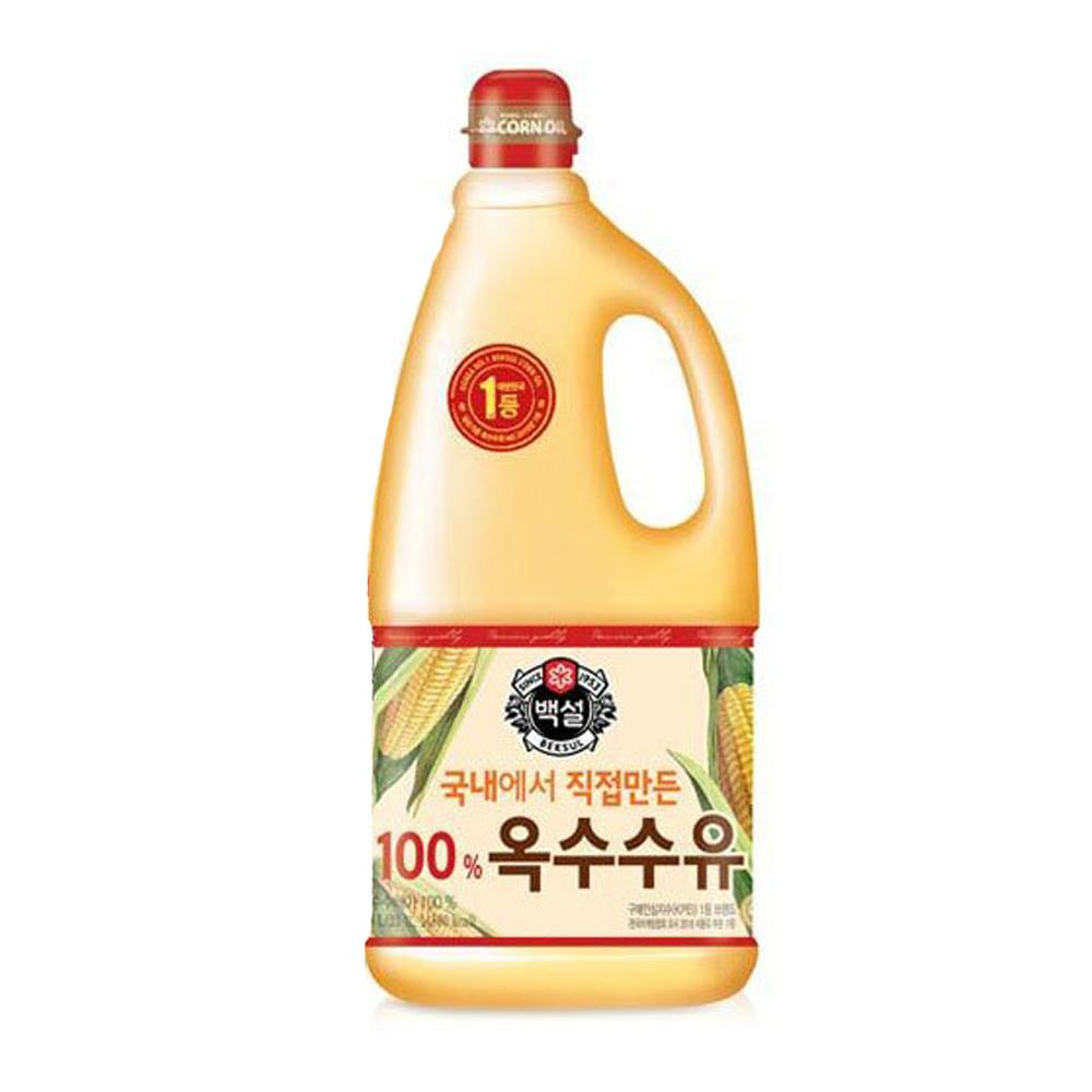 CJ 백설 옥수수유 1.8L 1개 튀김유 부침개 식용유 옥수수유 백설 식용유 튀김기름 콩기름