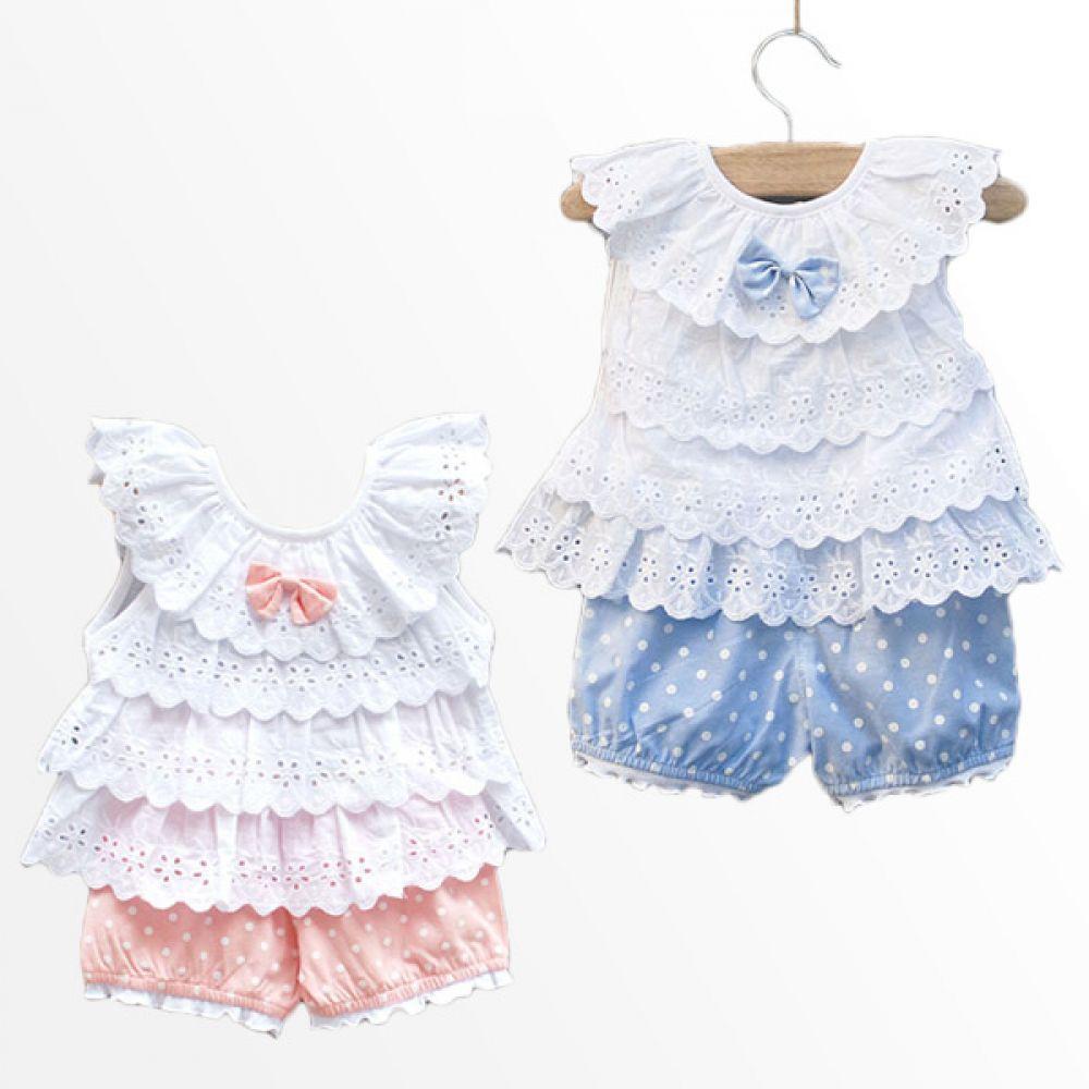 레이스 프릴 도트 상하복(9개월-3세) 300060 아기외출복 백일아기옷 아기룸퍼 6개월아기옷 아기룸퍼 돌아기옷 신생아외출복 베이비롬퍼