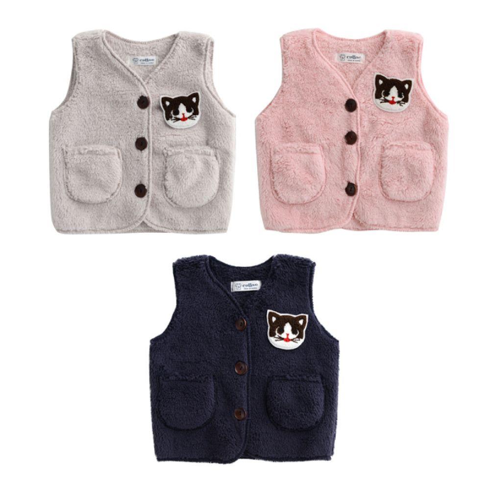 한국생산 고양이 와펜 수면조끼(3-13호) 202349 아기조끼 수면조끼 누빔수면조끼 엠케이 조이멀티
