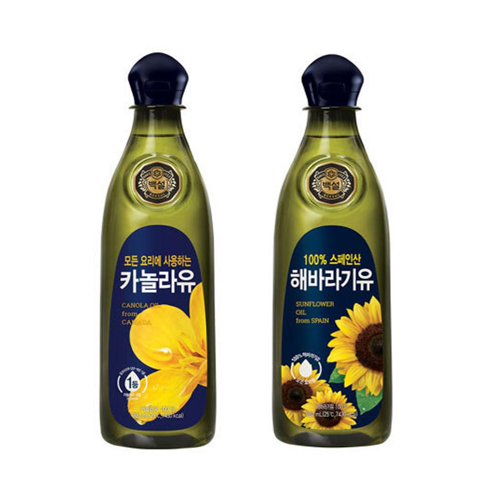 CJ백설 해바라기유 카놀라유 0.9L 1개 튀김 부침 식용유 백설 해바라기유 카놀라유 식용유 튀김기름