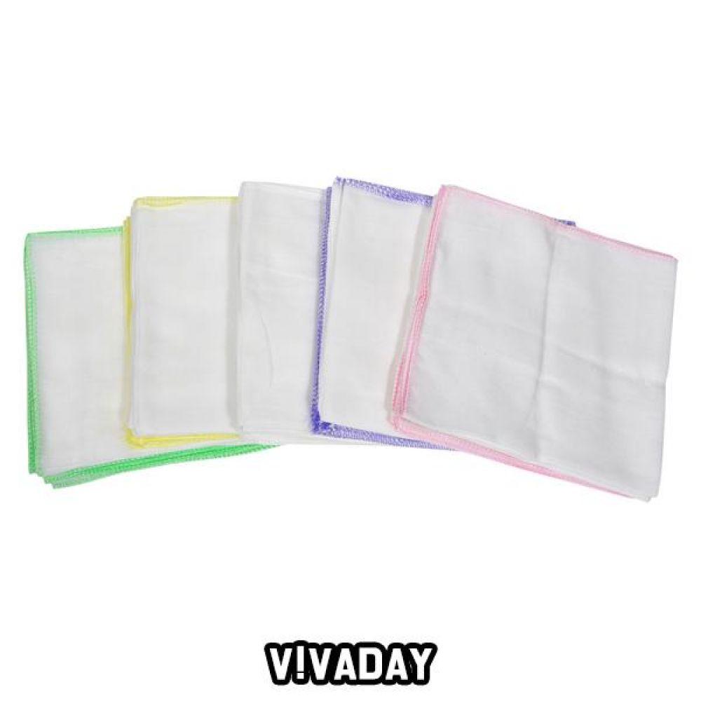 VIVADAY-SC91 민무늬 가제 손수건 10매 1세트 손수건 나염손수건 여성손수건 신사손수건 남성손수건 순면손수건 가제손수건 고급손수건