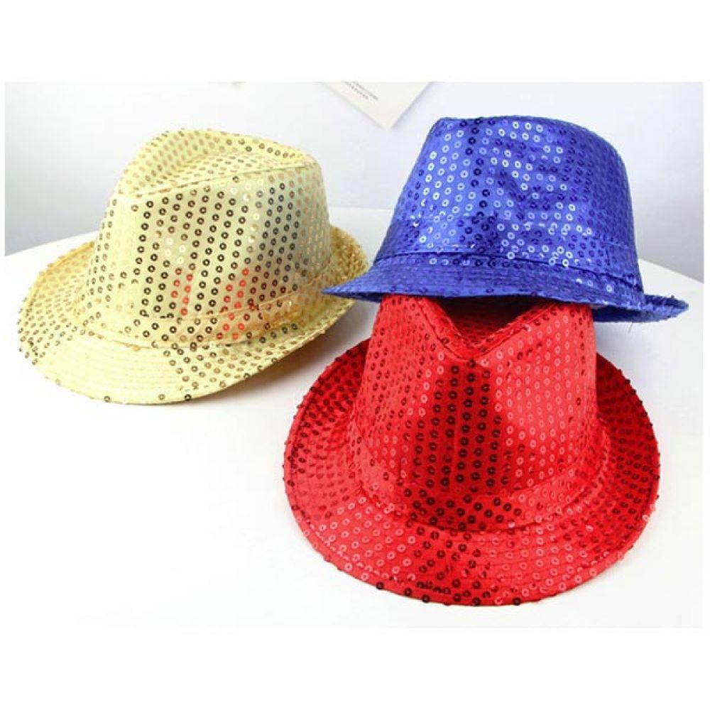 스팡클 모자 소 블루 반짝이모자 스팽글모자 중절모 스팽글모자 모자 반짝이모자 중절모 무대모자
