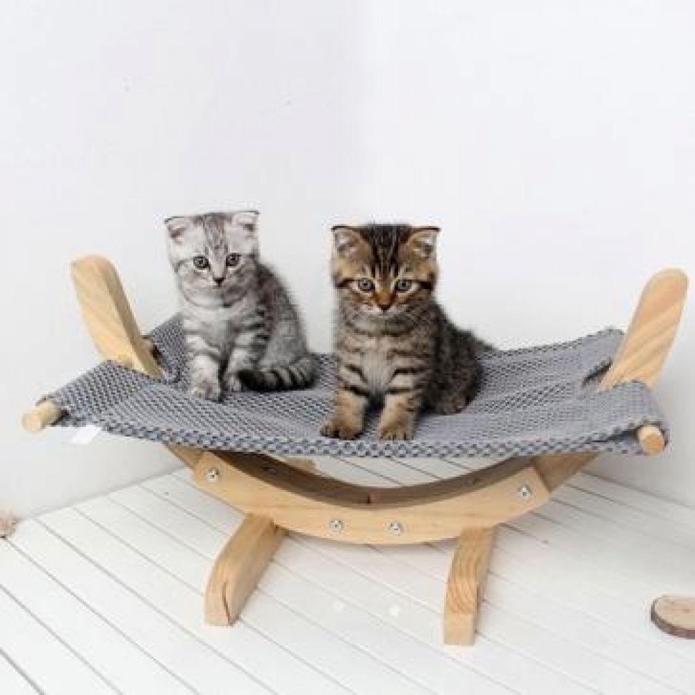 DQ_ODD383 침대 해먹 쿨매트 (원목 메쉬 그레이) 애묘하우스 동물텐트 고양이텐트 고양이집 고양이하우스