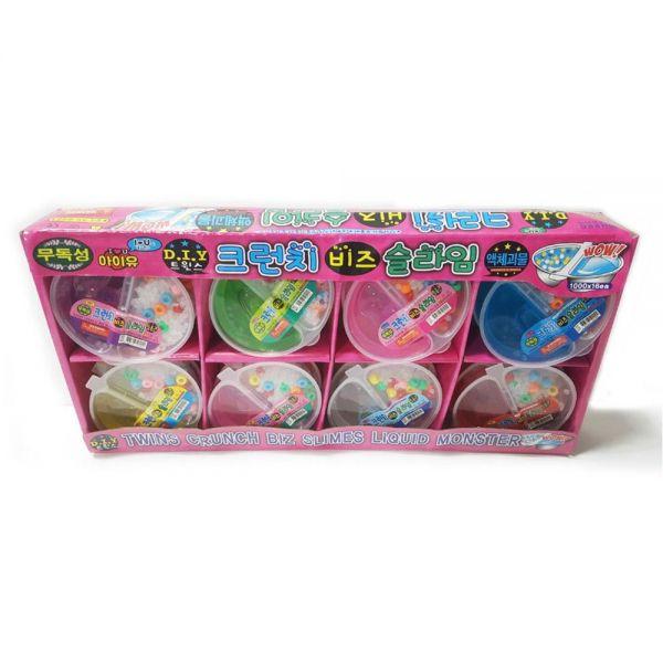 1000 트윈스 크런치 비즈 슬라임 (색상랜덤) 16개입 슬라임 액체괴물 매직괴물 단체선물 만들기놀이