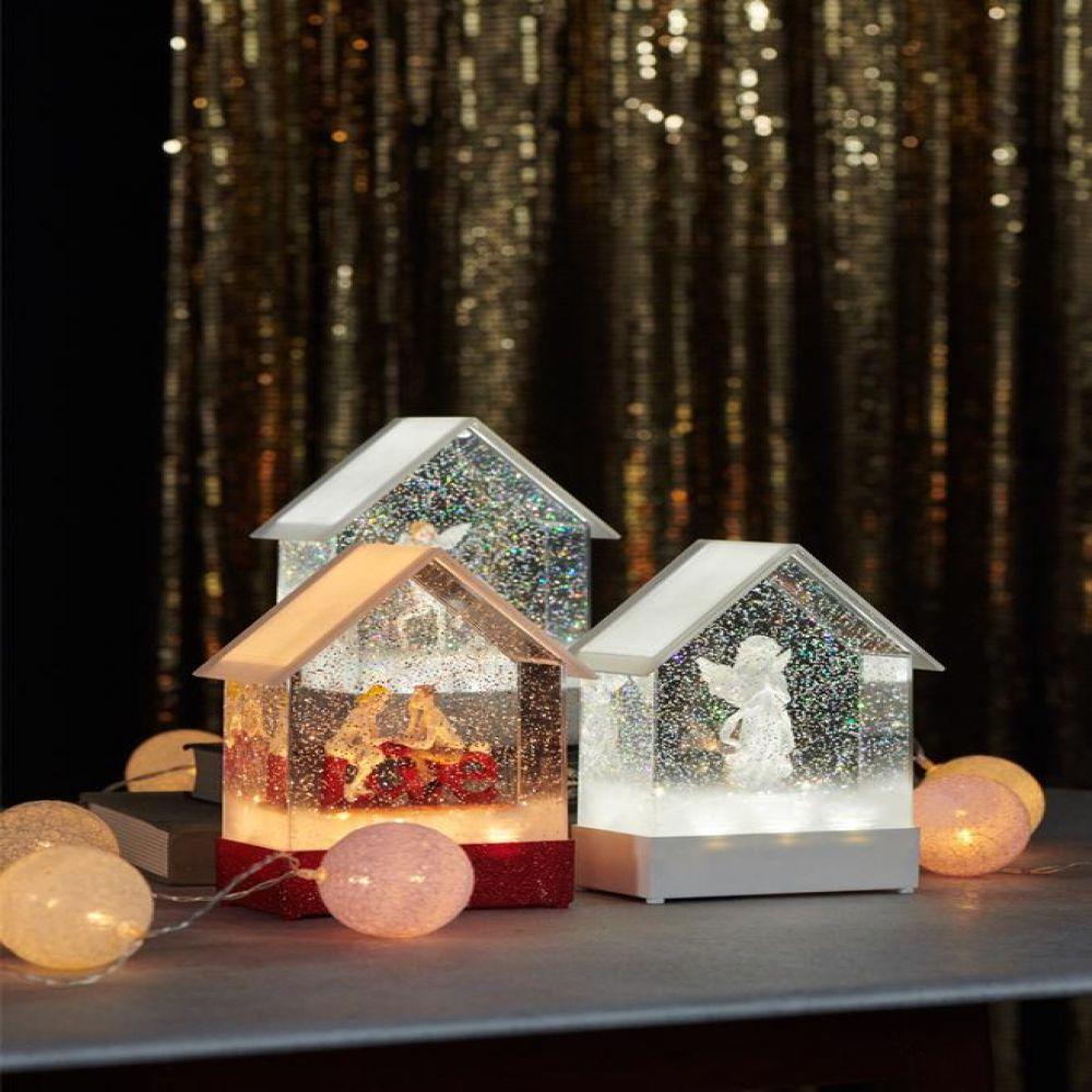 LED 투명 하우스 워터볼 오르골 4type 오르골소품 장식소품 인테리어소품 인테리어장식품 분위기소품