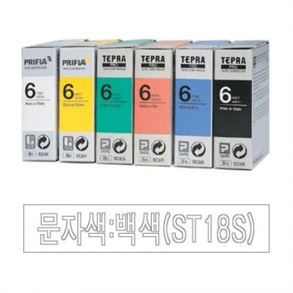 EPSON)라벨프린터리본(ST18S)투명_백문자-갑(5개입) 사무기기 금고 가구 라벨프린터 리본