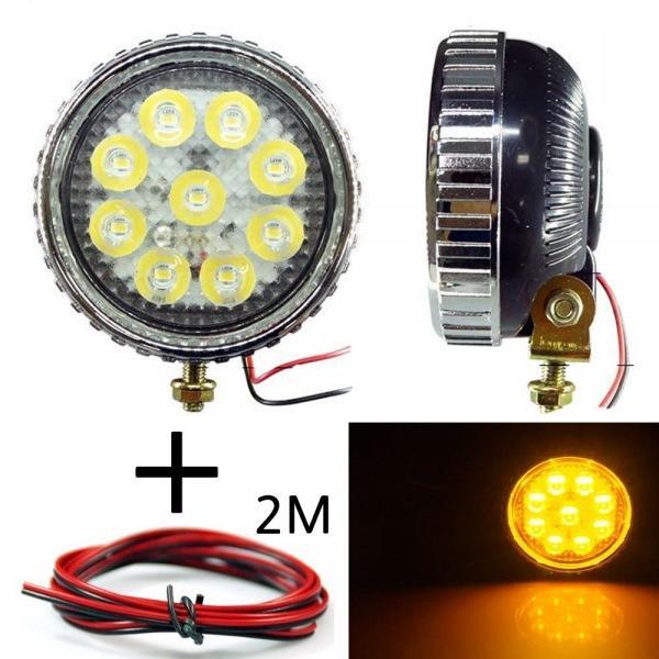 LED 안개등 원형 606 옐로우 다용도 램프 작업등 12V-24V겸용 선2m포함 led작업등 led라이트 낚시집어등 차량용써치라이트 해루질써치