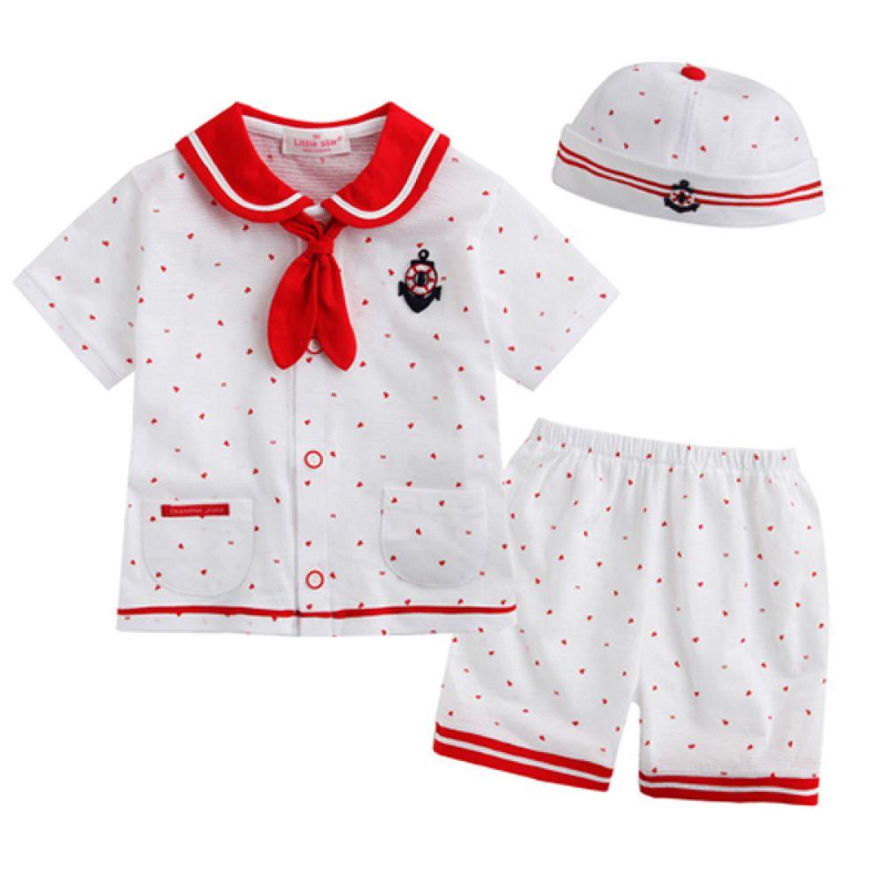 한국 해피 마린 유아정장 3종 레드 (3-24개월)800014 아기옷 원피스 유아옷 신생아옷 백일옷 돌복 유아실내복 세트 정장 아기실내복 아기외출복
