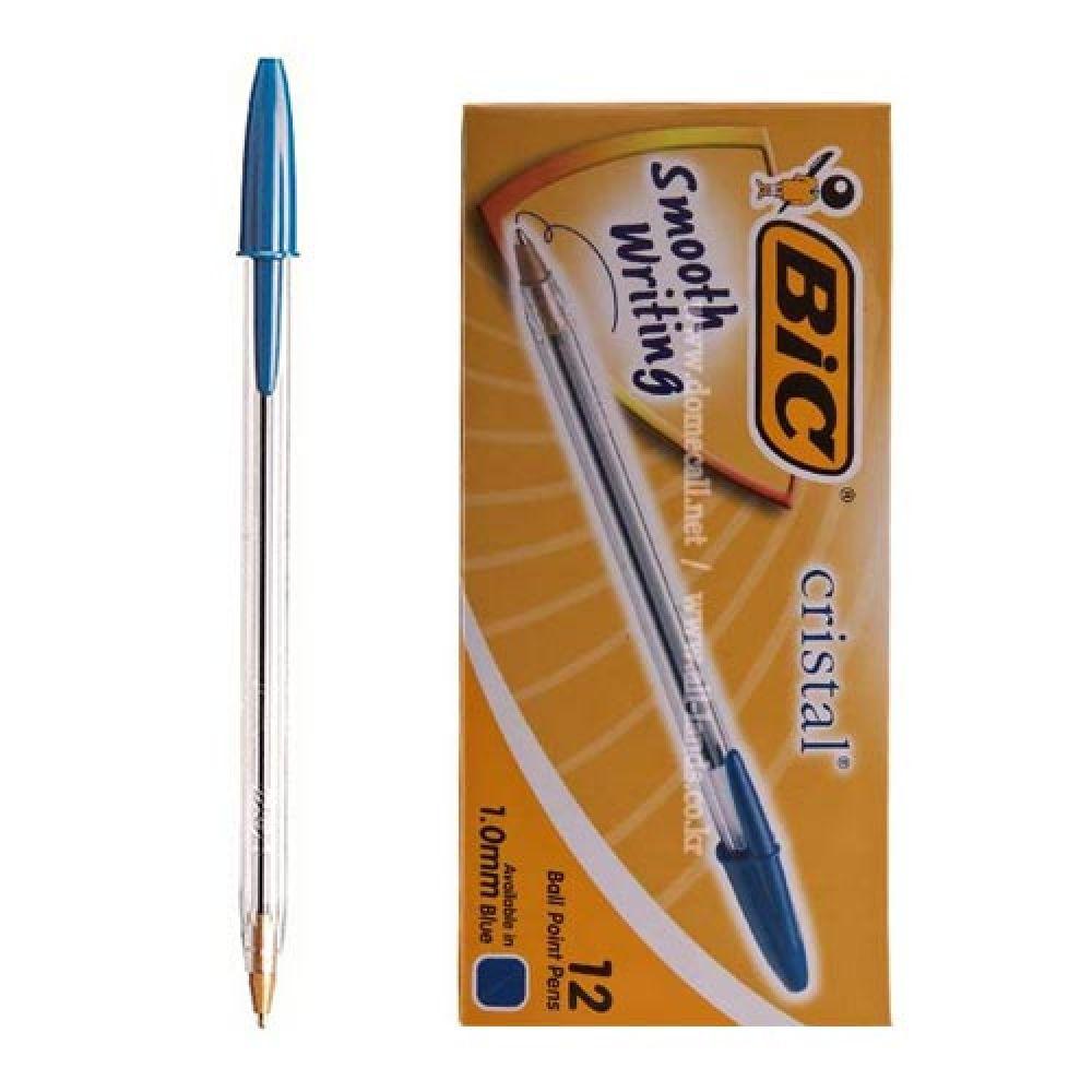 크리스탈 빅볼 파랑 12개 블루 볼펜 펜 필기도구 펜 블루 필기도구 빅볼 볼펜