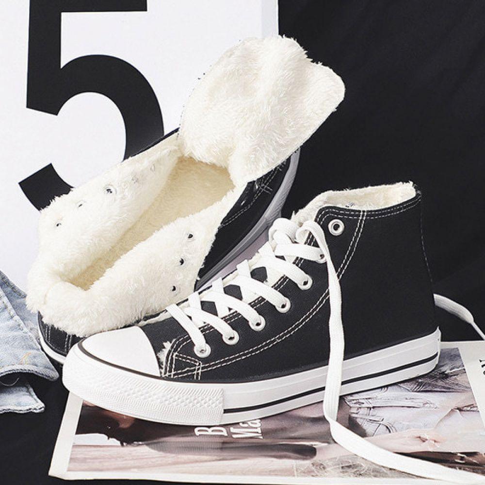 남여공용 캔버스 겨울 하이 스니커즈 털안감 ZG417T 남여공용 여자겨울신발 남자겨울신발 방한신발 털운동화