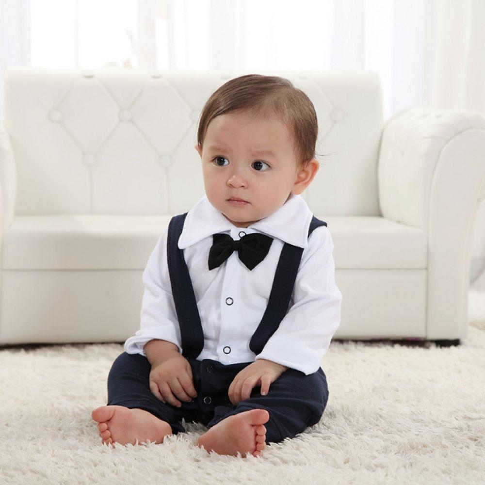 귀여운 턱시도 멜빵 우주복(0-24개월) 300202 아기우주복 롬퍼 룸퍼 바디슈트 백일복 아기옷 유아옷 신생아옷 유아복 돌복 아기정장 아기턱시도