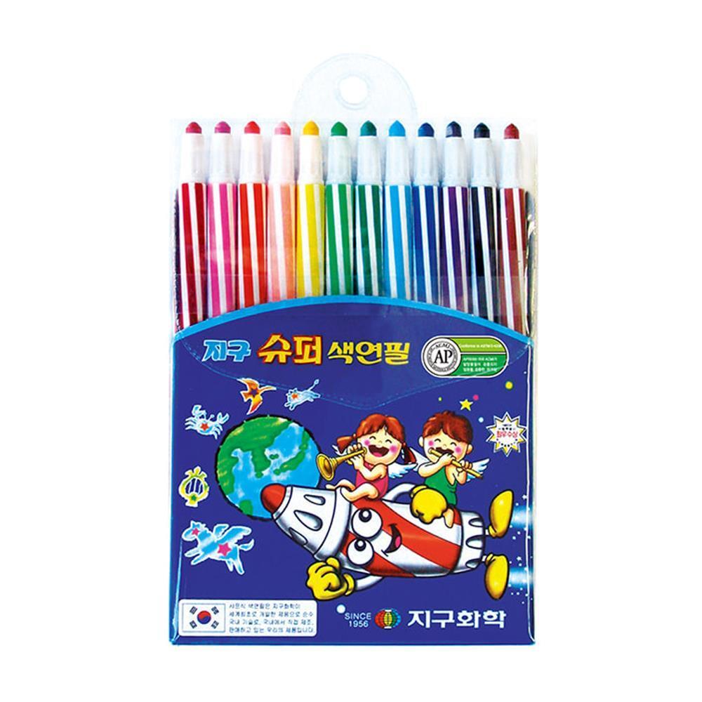 슈퍼 색연필 샤프식 미술 12색 아동용색연필 색칠공부 12색색연필 뽀로로색연필세트 어린이색연필 학습용색연필 캐릭터색연필