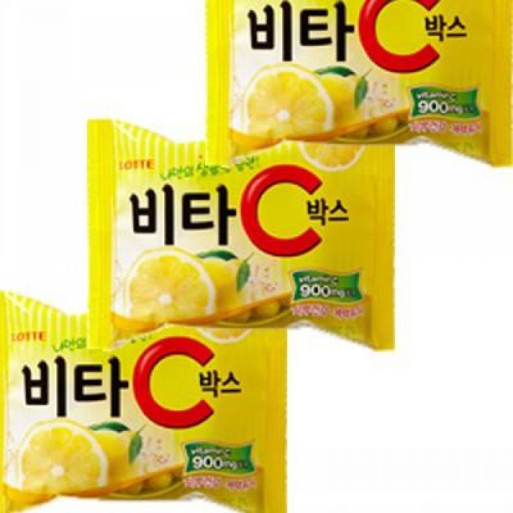 롯데)비타씨 박스(용기) 65g x 12개 새콤달콤한 레몬맛 캔디 사탕 캔디 비타민 시큼 새콤