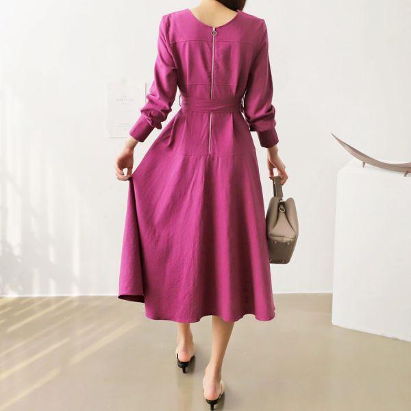 라운드넥린넨혼방원피스 1025009 DRESS 린넨 마원피스 베이지 Beige 퍼플 Purple