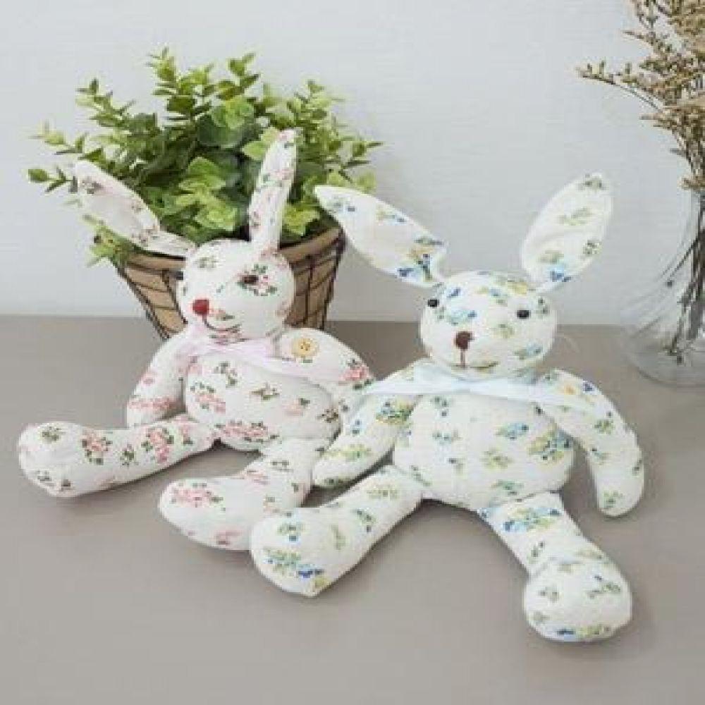 꽃무늬 토끼인형 2P 장식소품 인테리어소품 토끼장식 인테리어장식 봉제인형