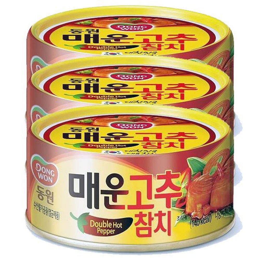 동원)매운 고추 참치 150g x 12개 화끈 매콤 요리 다랑어 생선 등푸른 오메가 통조림