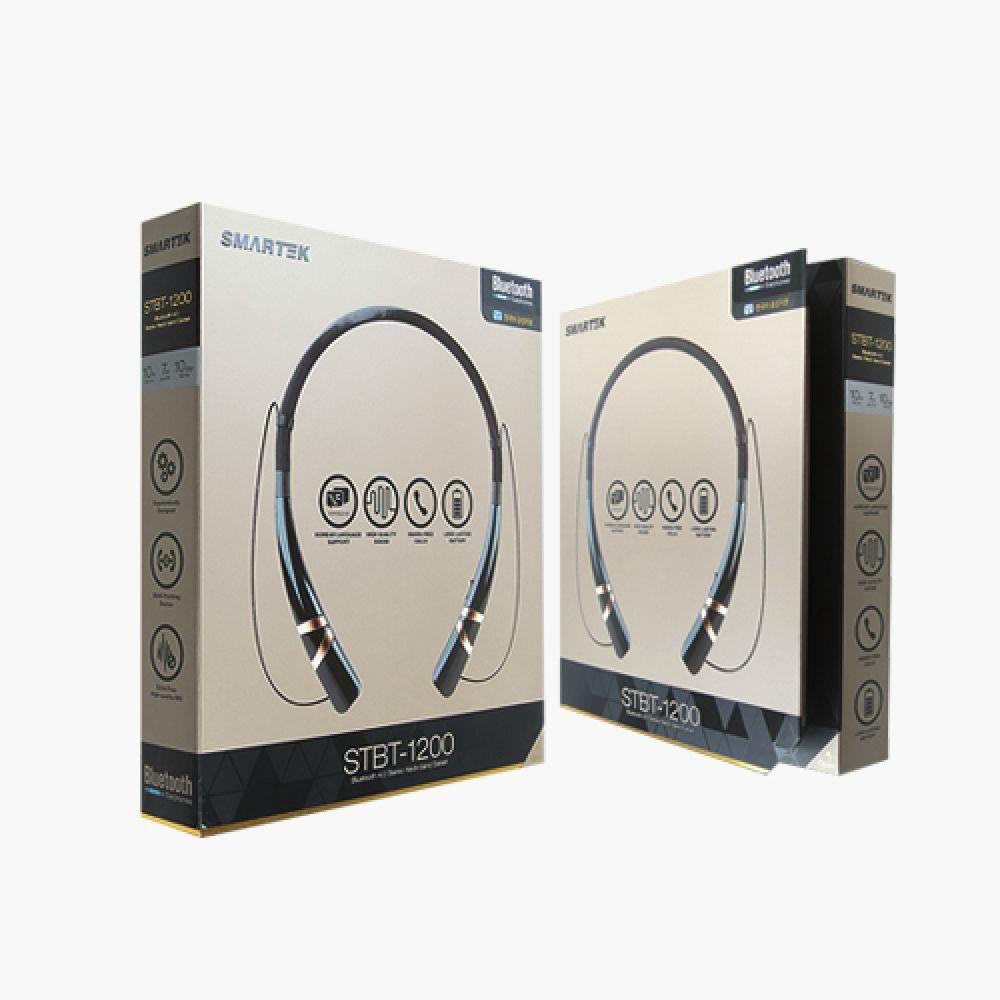 스마텍 블루투스 넥밴드이어셋STBT-1200 넥밴드 이어폰 에어팟 버즈 헤드셋 헤드폰 넥밴드이어폰 이어셋 무선이어폰 블루투스이어폰