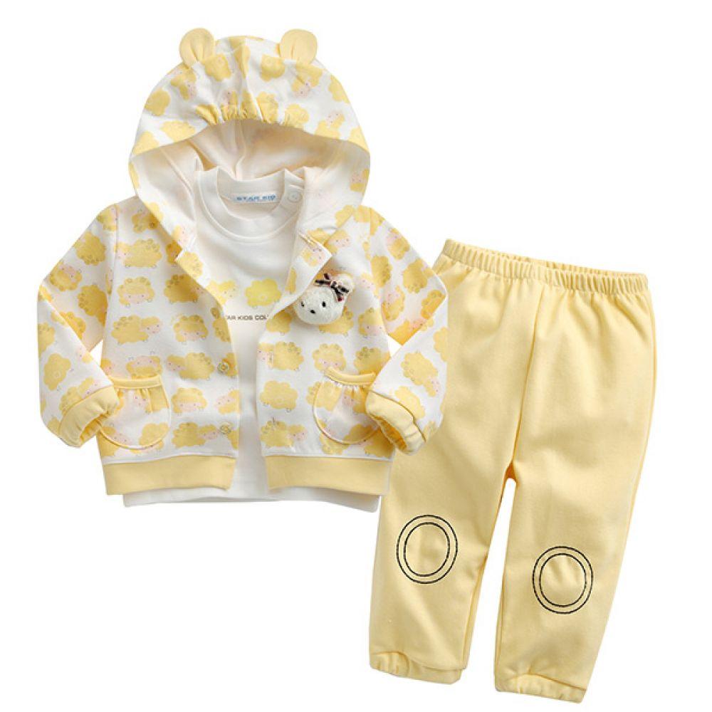 한국 양과곰 상하복3종세트 옐로우(0-18개월)203414 우주복 아기옷 유아옷 신생아옷 돌복 유아실내복 아기실내복 외출복