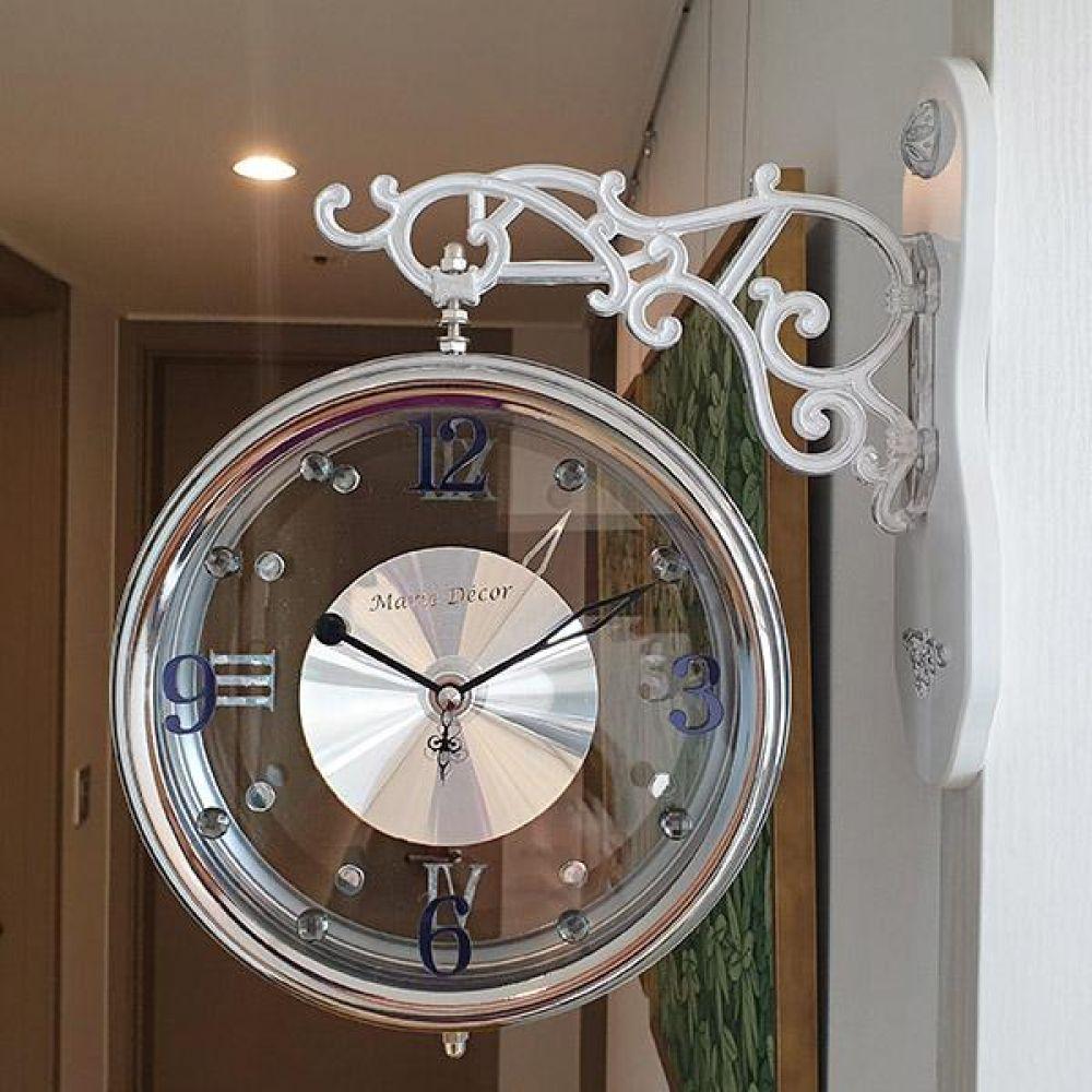 크리스탈 무소음 양면시계 (그레이) 양면시계 양면벽시계 벽시계 벽걸이시계 인테리어벽시계