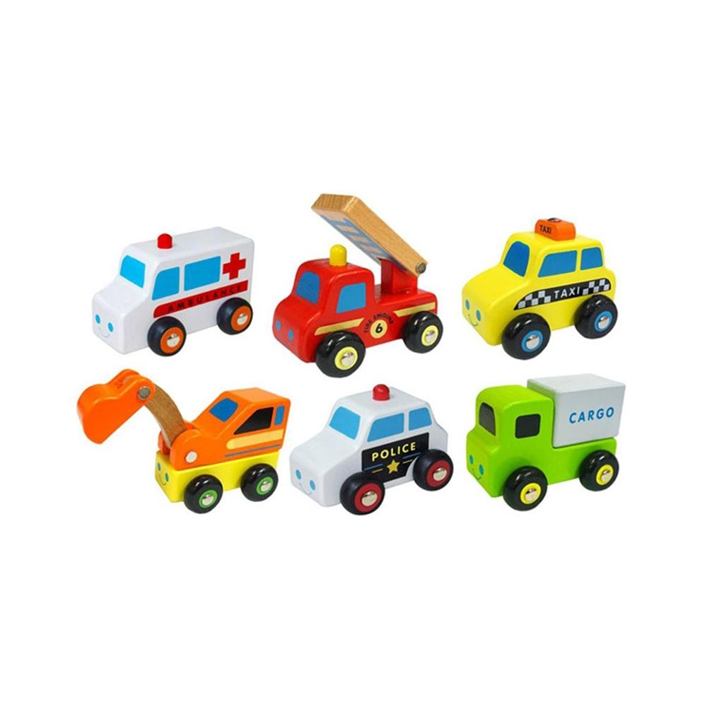 장난감 유아 어린이 놀이 미니 원목 자동차 6종 아이 퍼즐 블록 블럭 장난감 유아블럭