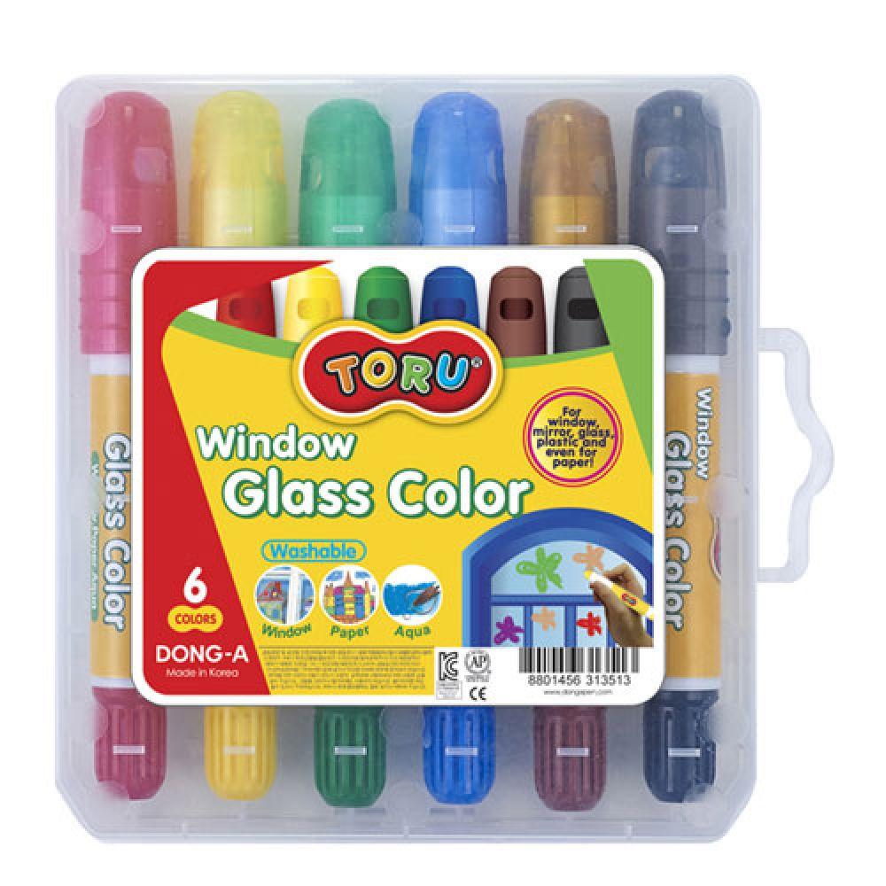 동아 글라스컬러 6색세트 2개 글라스컬러 물감 수채화물감 만들기재료 글라스데코 미술용품 어린이용품 글라스칼라 동아글라스컬러 연필 수채물감