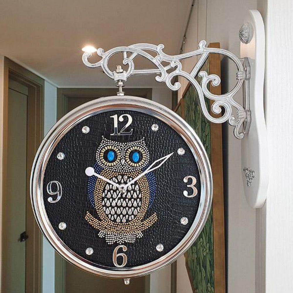 포인트 부엉이 무소음 양면시계 (블랙) 양면시계 양면벽시계 벽시계 벽걸이시계 인테리어벽시계