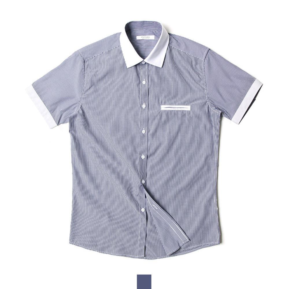 네이비 배색 줄지 반팔셔츠 반팔남방 반팔셔츠 슬림핏셔츠 빅사이즈셔츠 남자셔츠 남자반팔셔츠 캐주얼셔츠 남자여름셔츠 반팔와이셔츠 남자와이셔츠