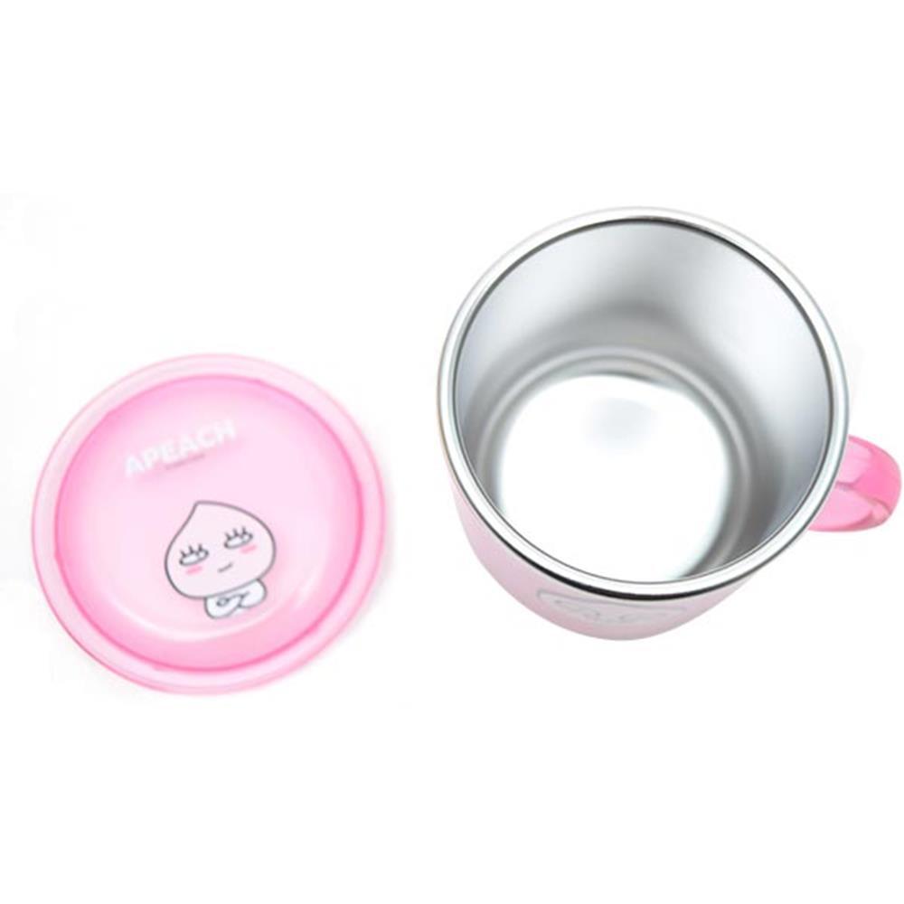 스텐컵 투명 어피치 논슬립뚜껑 안전핸들 유아용품 논슬립 유아용품 투명뚜껑 유아컵 스텐컵