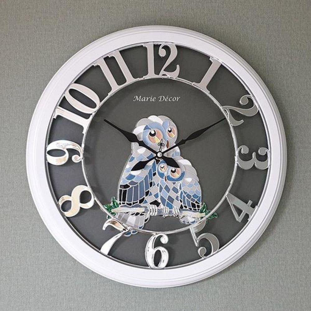 넘버링 우드 벽시계 (컬러블록 부엉이 실버) 벽시계 벽걸이시계 인테리어벽시계 예쁜벽시계 인테리어소품