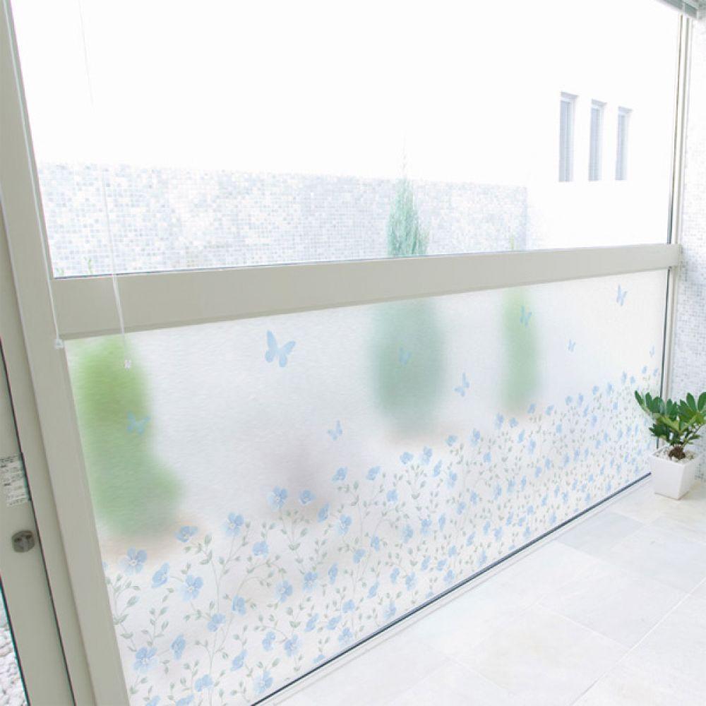 무점착유리시트지 dmch200_m 클린블루플라워 창문시트지 글라스시트지 유리창시트지 무점착시트지 유리시트지