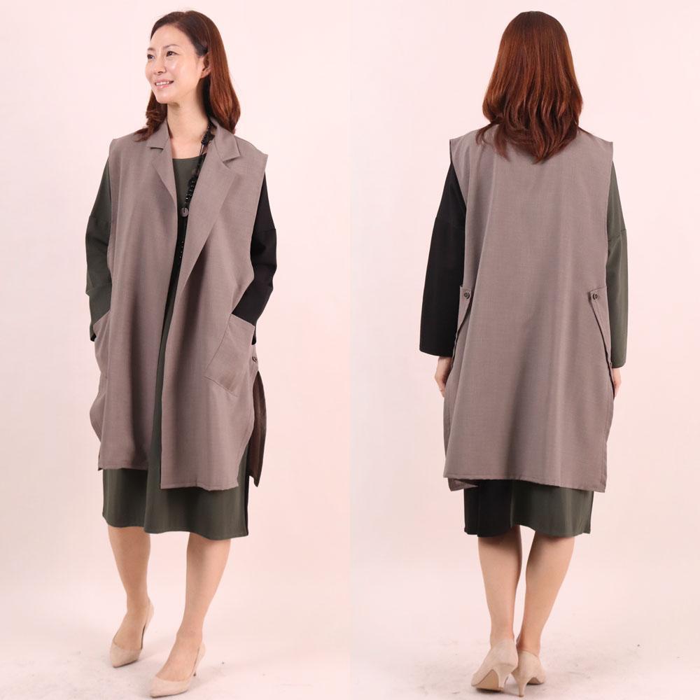 미시옷 6602L910 절개 버튼 롱 베스트 WW 빅사이즈 여성의류 빅사이즈 여성의류 미시옷 임부복 루즈단추롱베스트