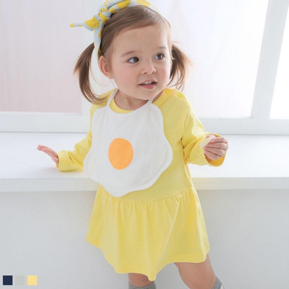 계란후라이 턱받이와 긴팔 바디슈트(0-18개월) 203860 아기옷 유아옷 애기옷 바디슈트 롬퍼 바디수트 아기바디슈트 유아바디슈트 신생아옷