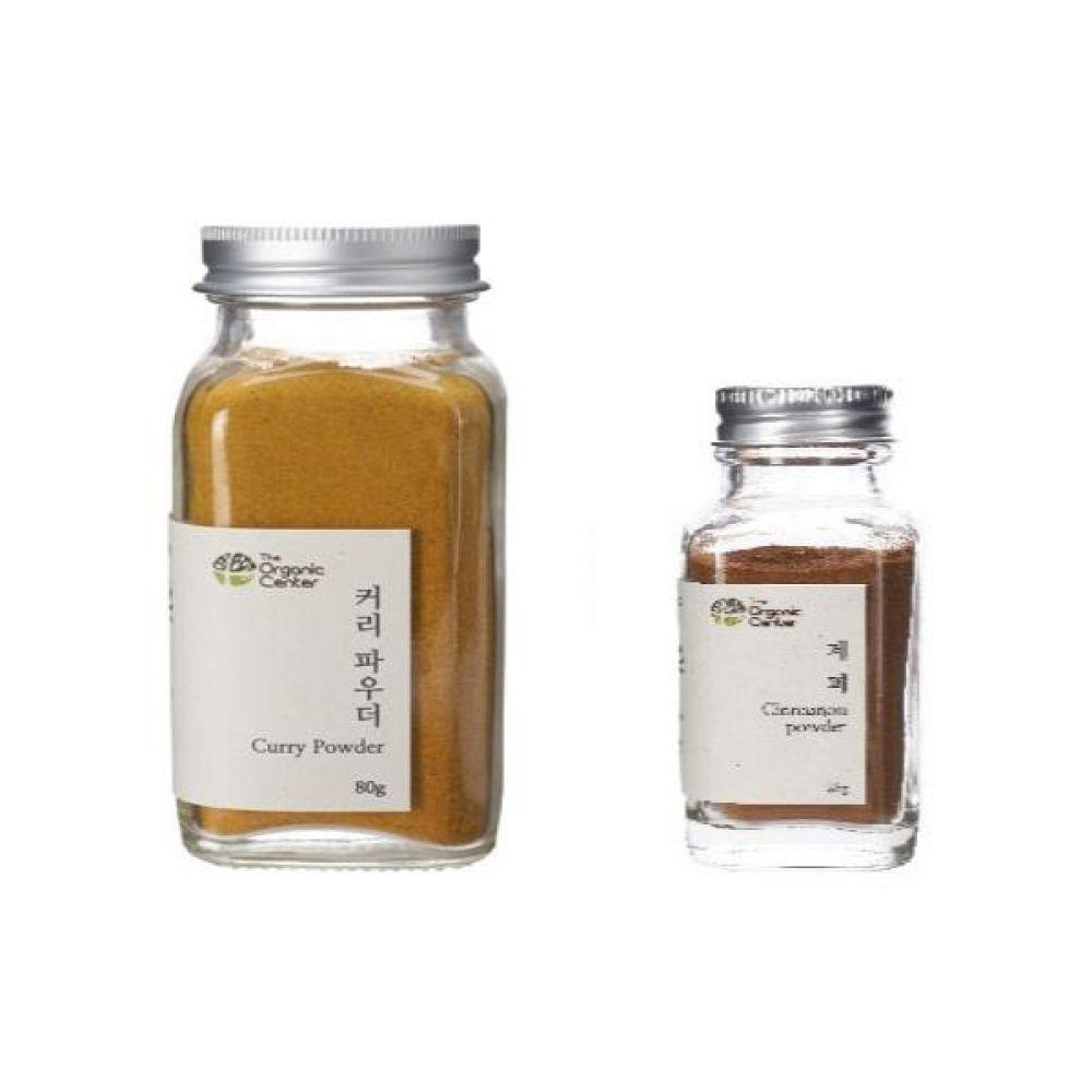 (오가닉 향신료 모음)커리 파우더 믹스 80g과 계피파우더 25g 건강 견과 조미료 카레 냄새