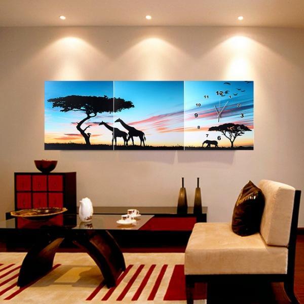 JHC컴퍼니 아프리카 자연 병풍 벽시계(120cm 40cm) 벽시계 탁상시계 시계 클래식시계 엔틱벽시계