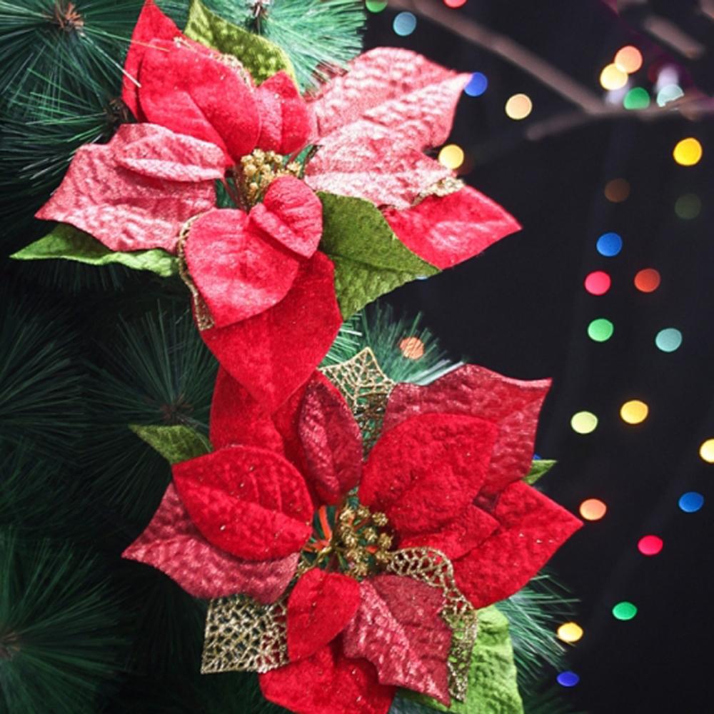 MWSHOP 2p 크리스마스 포인세티아 레드 대 성탄절 성탄용품 엠더블유샵