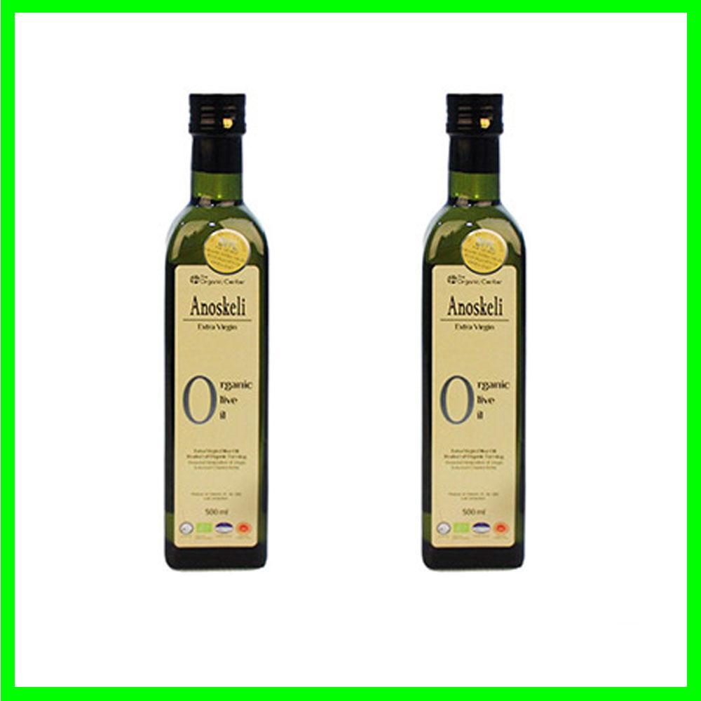 (그리스 직수입)아노스켈리 압착 유기농 올리브오일 500ml x 2병 건강 올리브 기름 오일 견과류