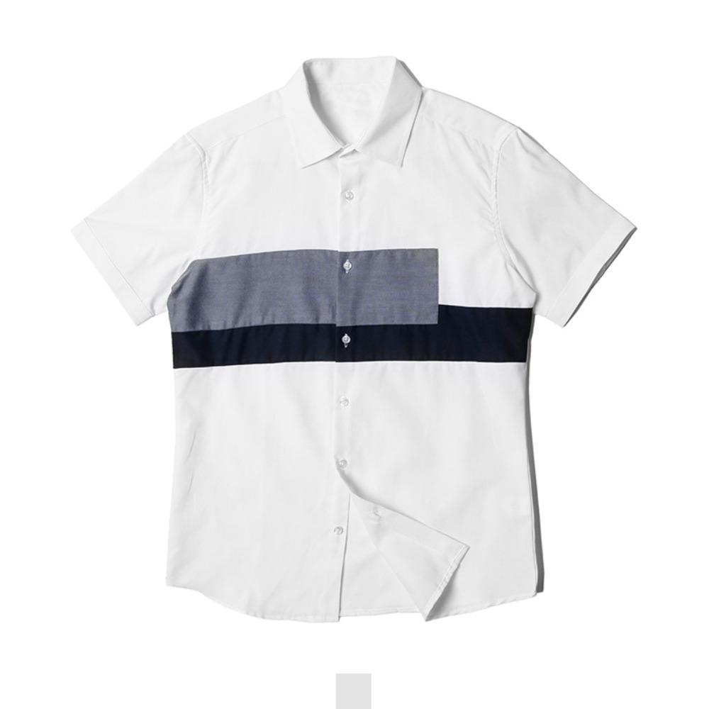 투블럭 절개배색 남자 반팔셔츠 반팔남방 반팔셔츠 슬림핏셔츠 빅사이즈셔츠 남자셔츠 남자반팔셔츠 캐주얼셔츠 남자여름셔츠 반팔와이셔츠 남자와이셔츠