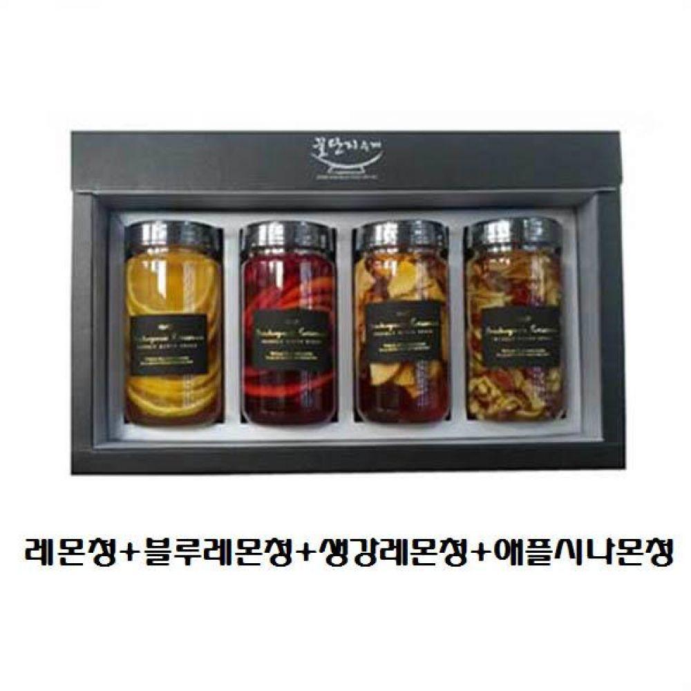 (수제 과일청 4구 선물세트) 레몬청 x 블루레몬청 x 생강레몬청 x 애플시나몬청 청 조청 과일 조림 단맛