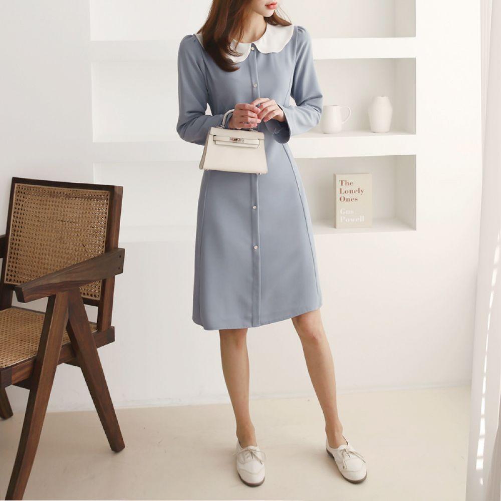 라인 카라원피스 1048346 DRESS 쉬폰 레이스원피스 블랙 Black 핑크 Pink 소라 Sky Blue 캐주