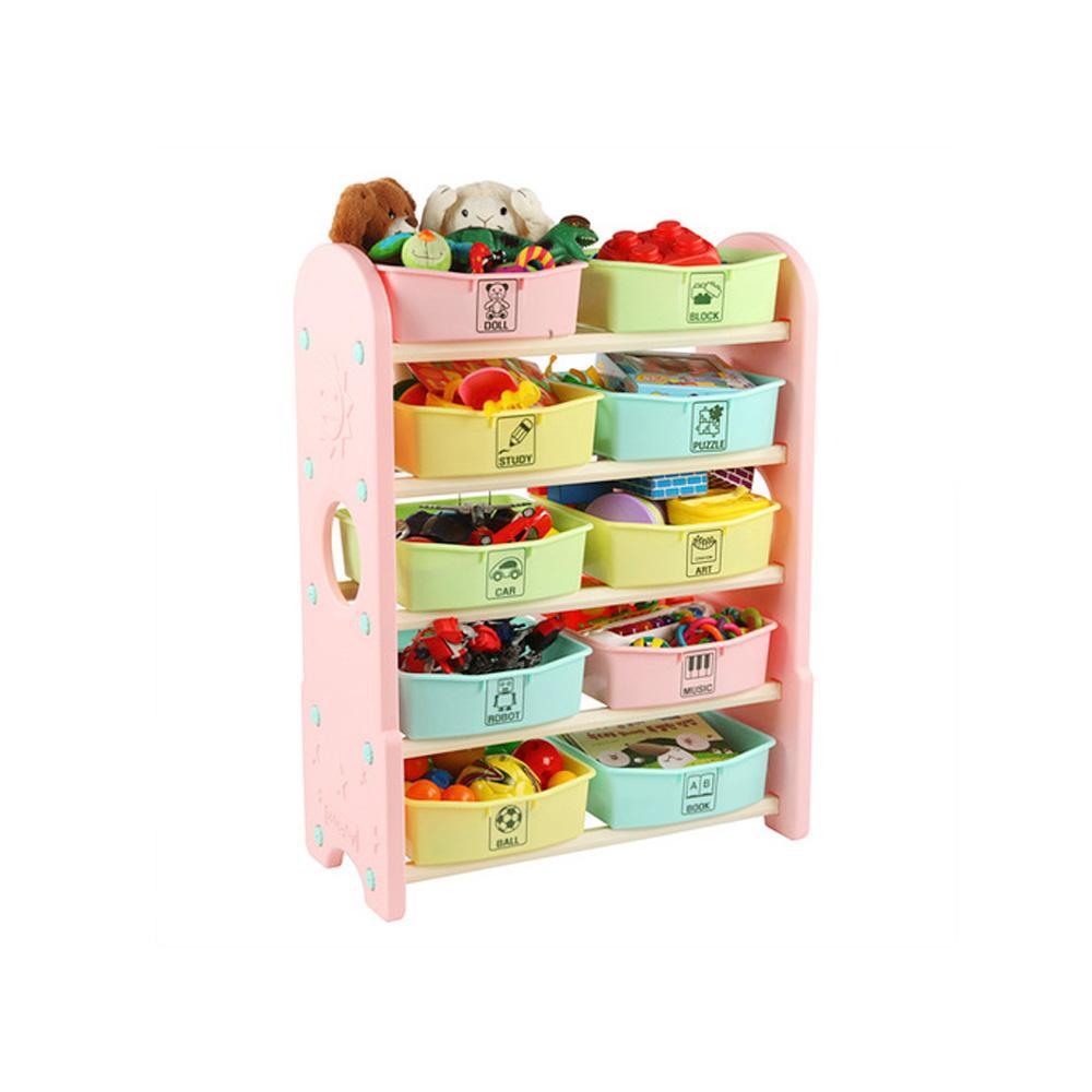 습관 쿠쿠토이즈 펀5단 정리함 수납함 핑크 정리 수납함 정리습관 어린이집 유아원 장난감