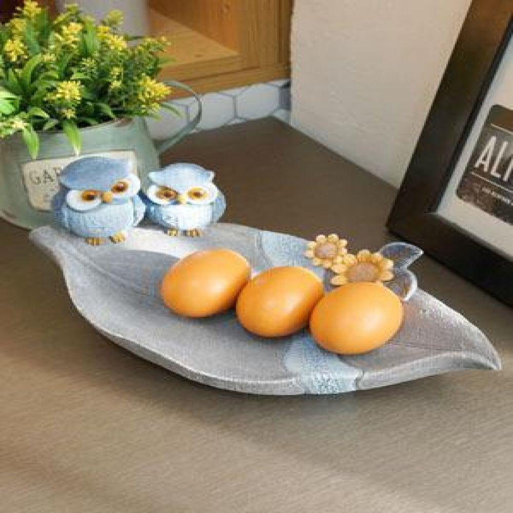 블루 부엉이 나뭇잎 트레이 (08467) 마블소품 부엉이소품 인테리어소품 장식소품 소품트레이
